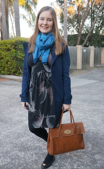 Leona Edmiston Jemima fern print dress navy mac jacket azure skull scarf mulberry bayswater office outfit | Away From Blue