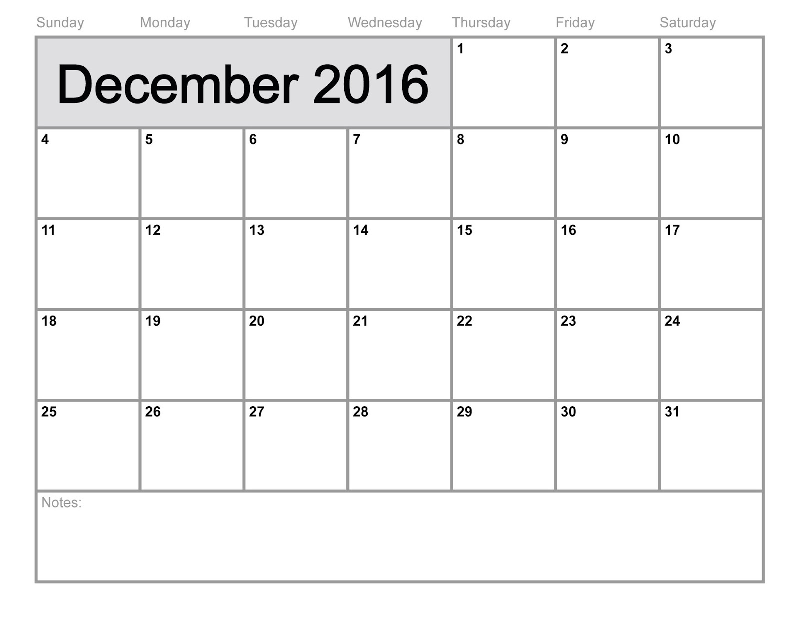 2016 Blank Printable Calendar Cute download free, December 2016 ...