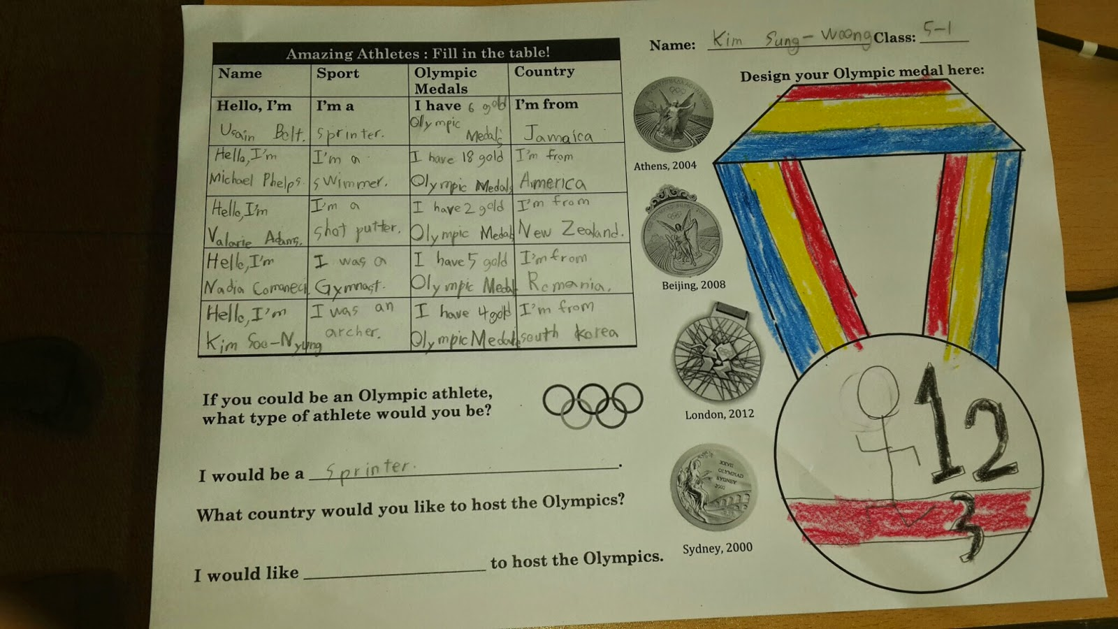 Amazing Athletes Ppt Free Amp Olympic Medal Worksheet
