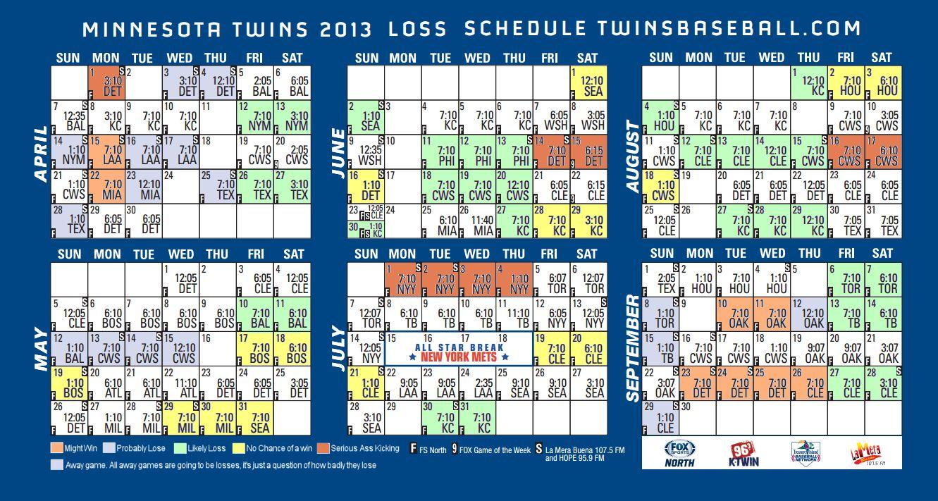 Minnesota Twins Schedule