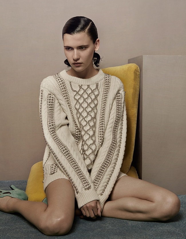 Alexander Wang 2015 AW White Beaded Cable-Knit Sweater Editorials