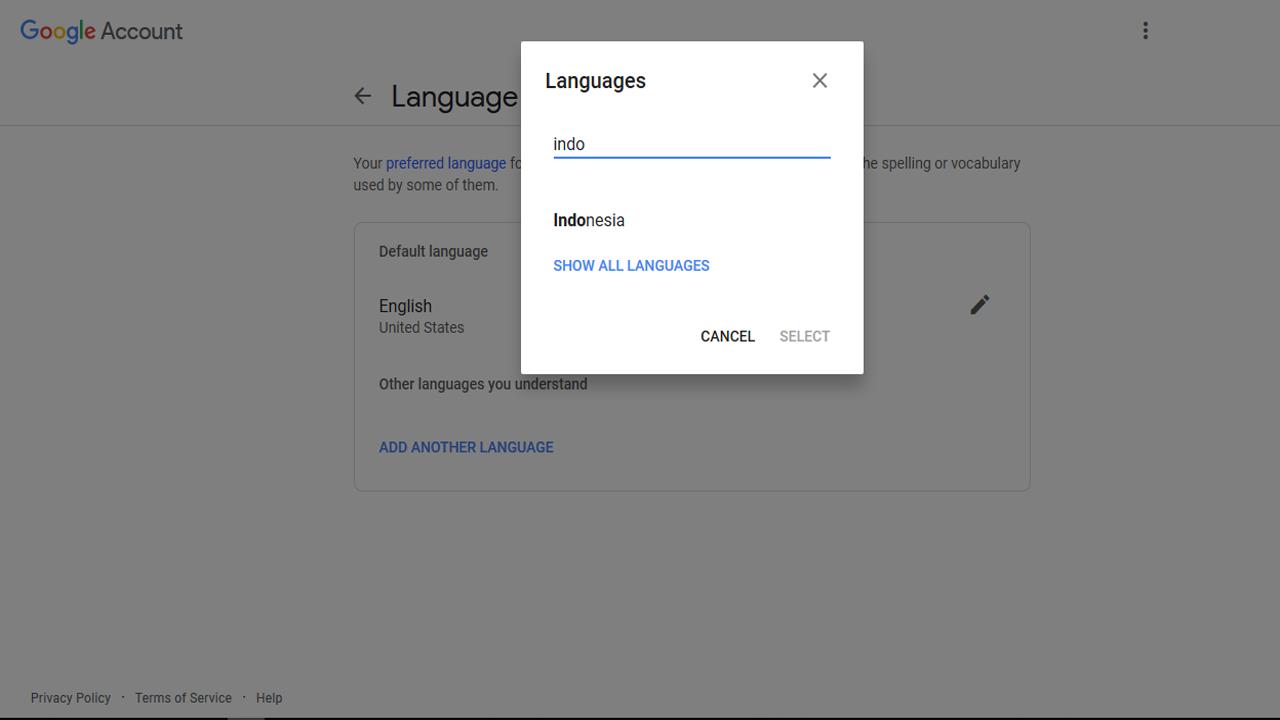Lokasi Pengaturan Bahasa di Akun Google