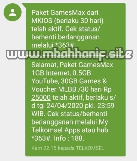 paket telkomsel gamesmax 30gb