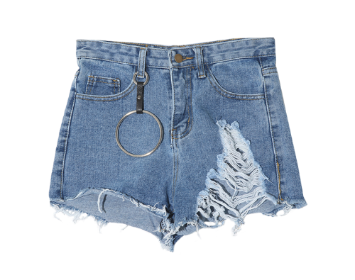 Key Holder Detail Shredded Shorts
