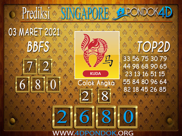 Prediksi Togel SINGAPORE PONDOK4D 03 MARET 2021