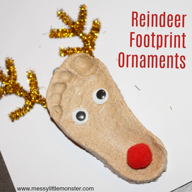 Salt Dough Ornaments. Reindeer Footprint Craft