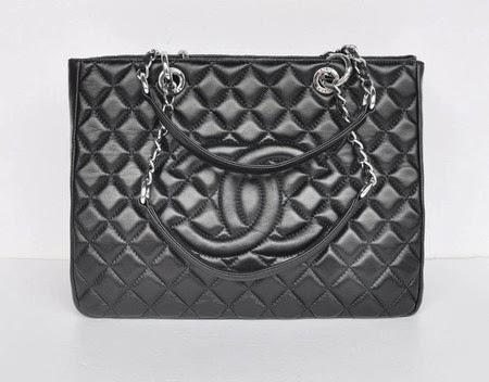 56f1596b9 Bolsa Chanel Grand Shopping Tote Lambskin Black/Silver | Shopping ...
