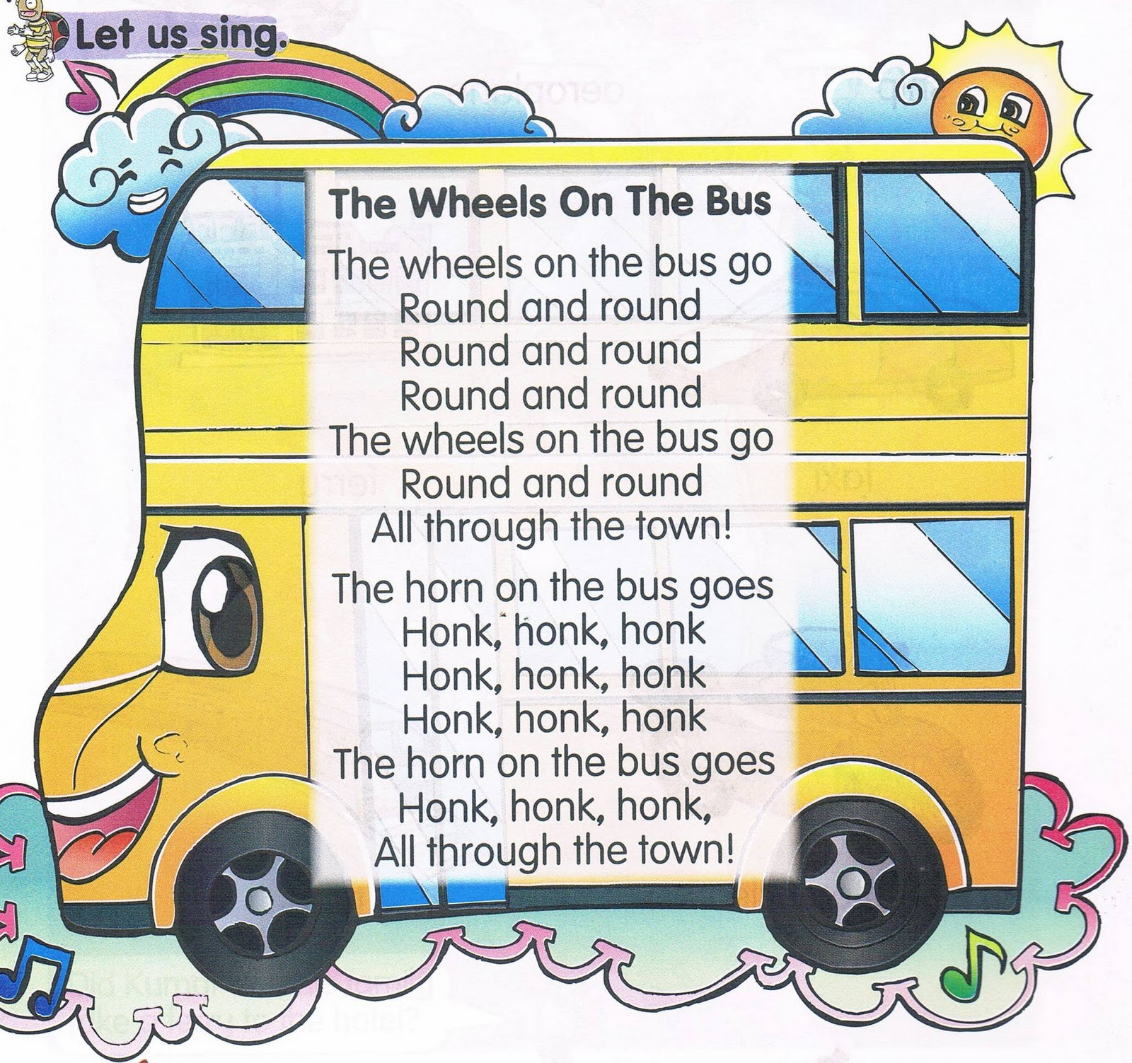 English Bee Learning Corner The Wheels On The Bus