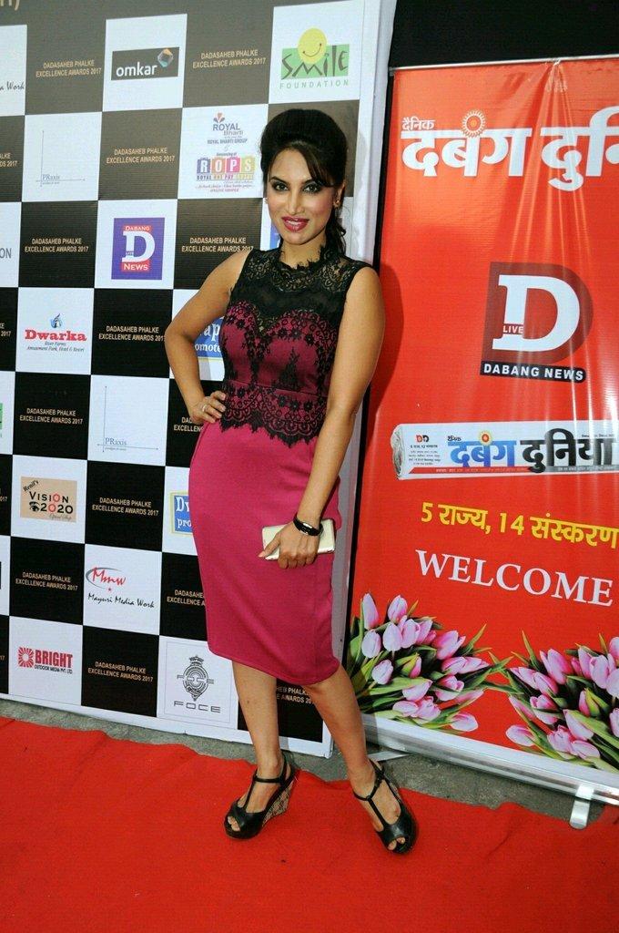 Smita Gondkar In Red Dress At Dadasaheb Phhalke Awards 2017