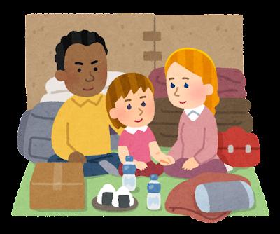 避難所生活をする外国人のイラスト(笑顔)