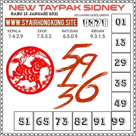 Prediksi New Taypak Sydney Rabu 13 Januari 2021