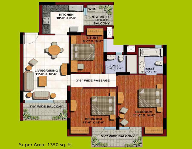 Floor-plan-2-BHK-study-flat-in-Orange-County