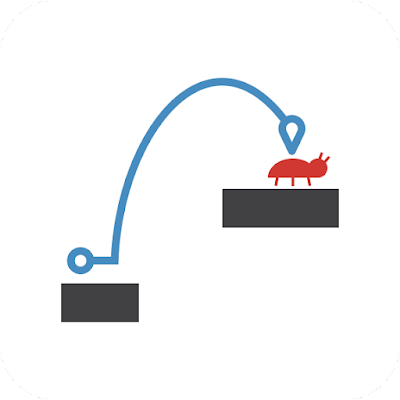 A simple vector image showing a jump navigation trajectory from one platform to another and landing on a bug.