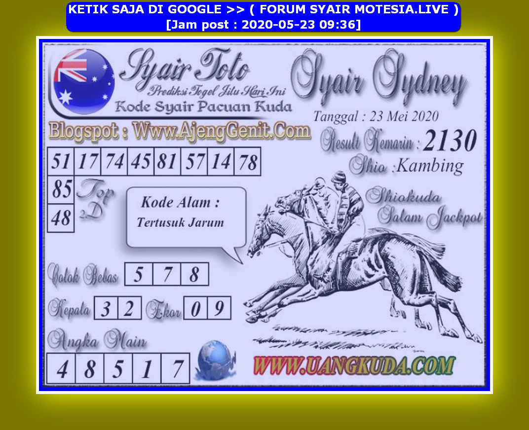 Kode syair Sydney Sabtu 23 Mei 2020 176