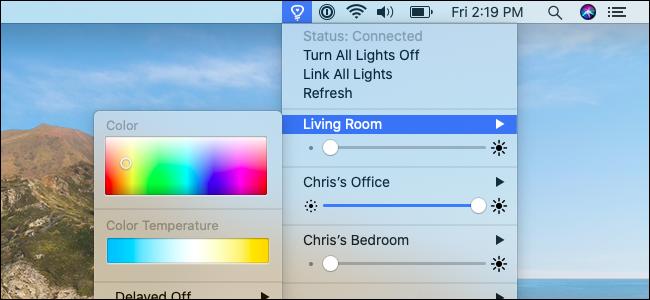 قائمة Colors for Hue على macOS.