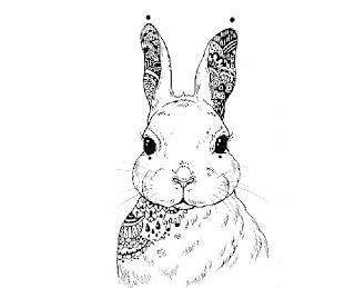Gambar kelinci hitam putih