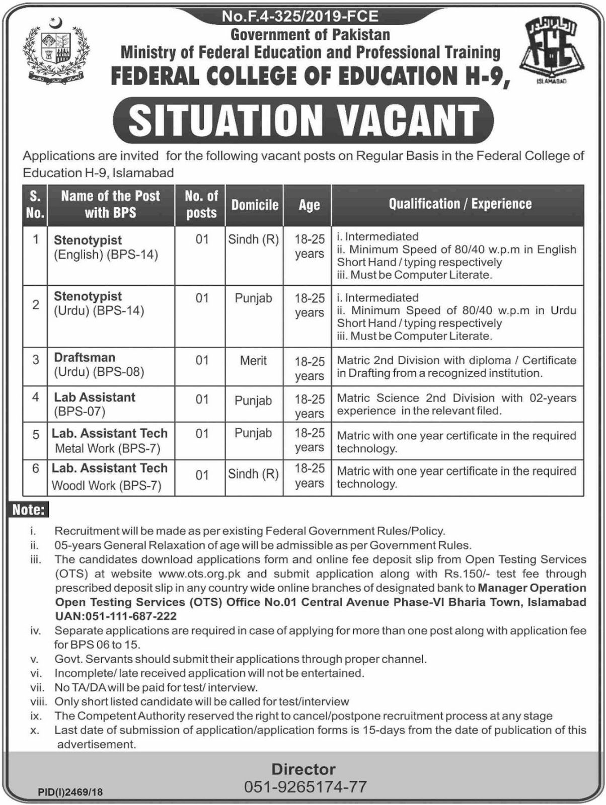 Federal College of Education Islamabad Jobs 2019 vis OTS Testing Service