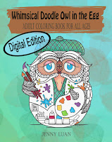 Digital Edition Whimsical Doodle Owl in the Egg Adult coloring book