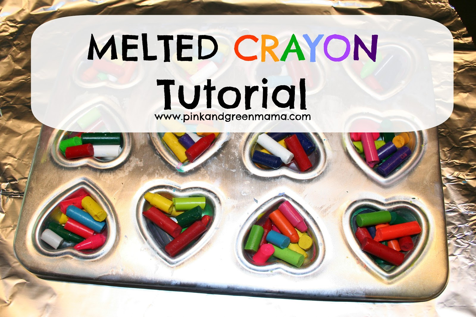 You Color My World Valentines: Melted Crayon Heart Valentines