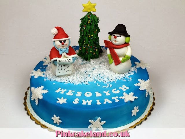 Xmas Cake with Snowman and Santa Claus - Cakes Surrey