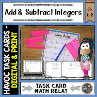 Use Task Cards for Havoc Math Relay Game; cover for Add & Subtract Integers Havoc Relay Task Cards
