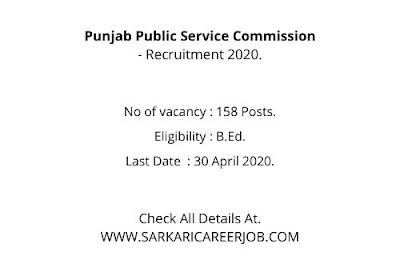 PPSC Vacancy  2020 | 158 Posts PPSC Latest Recruitment 2020.