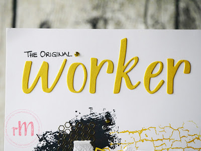 Stamp Impressions Blog Hop: Around the world: The original worker bee Manchester Scrap mit Gut definiert, Artisan Textures, Crackle Paint und Swirly Frames
