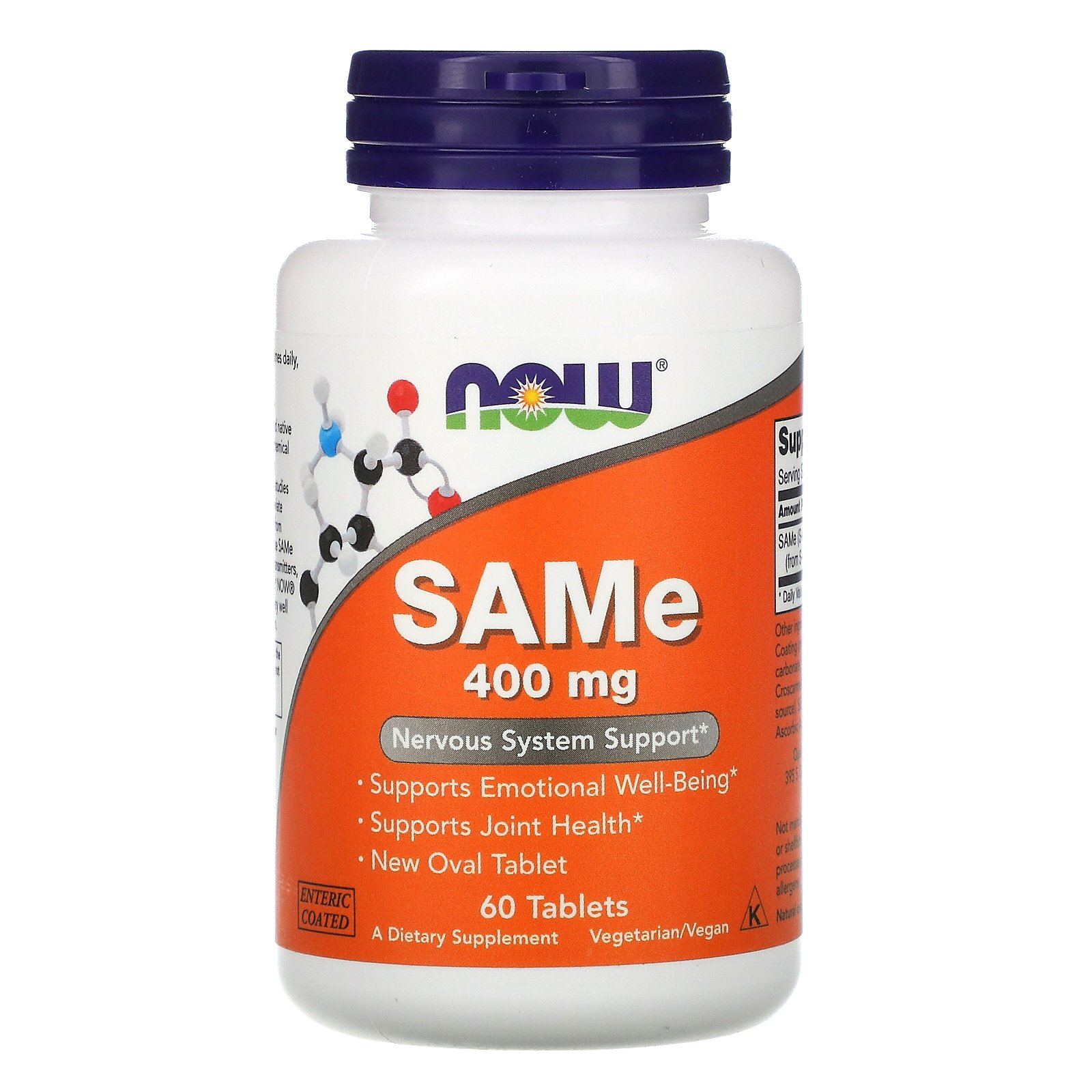 Now Foods, SAMe, 400 мг, 60 таблеток