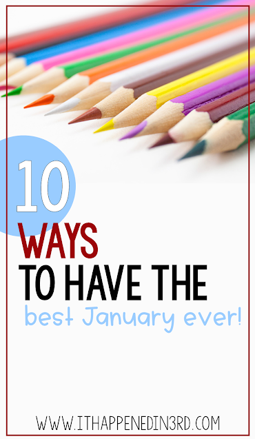 Picture of colored pencils with the text: 10 ways to have the best January ever!