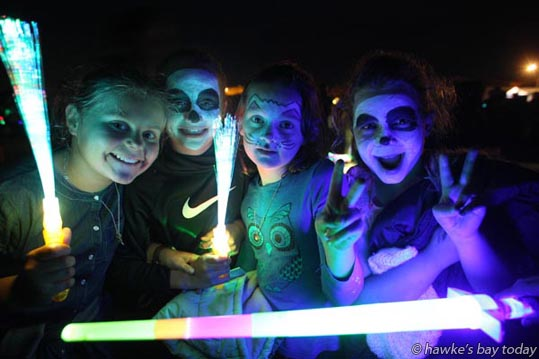 L-R: Madeleine Ives, 10, Renee Colman, 9, Esme Morison, 8, Phoebe Roughton, 9, all from Havelock North. Blast in the Park and Fireworks Spectacular, a Guy Fawkes celebration at Anderson Park in Havelock North. photograph