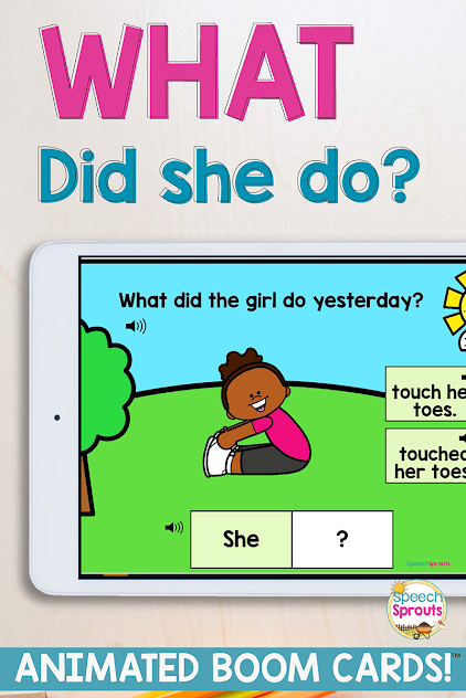 Animated fun! This speech Therapy Boom Card Deck teaches regular past-tense ed verbs, WH questions and pronouns. Read this post for 11 awesome ideas for speech teletherapy and find more exciting speech therapy activities for your online speech and language sessions. #speechsprouts #speechtherapy #teletherapy