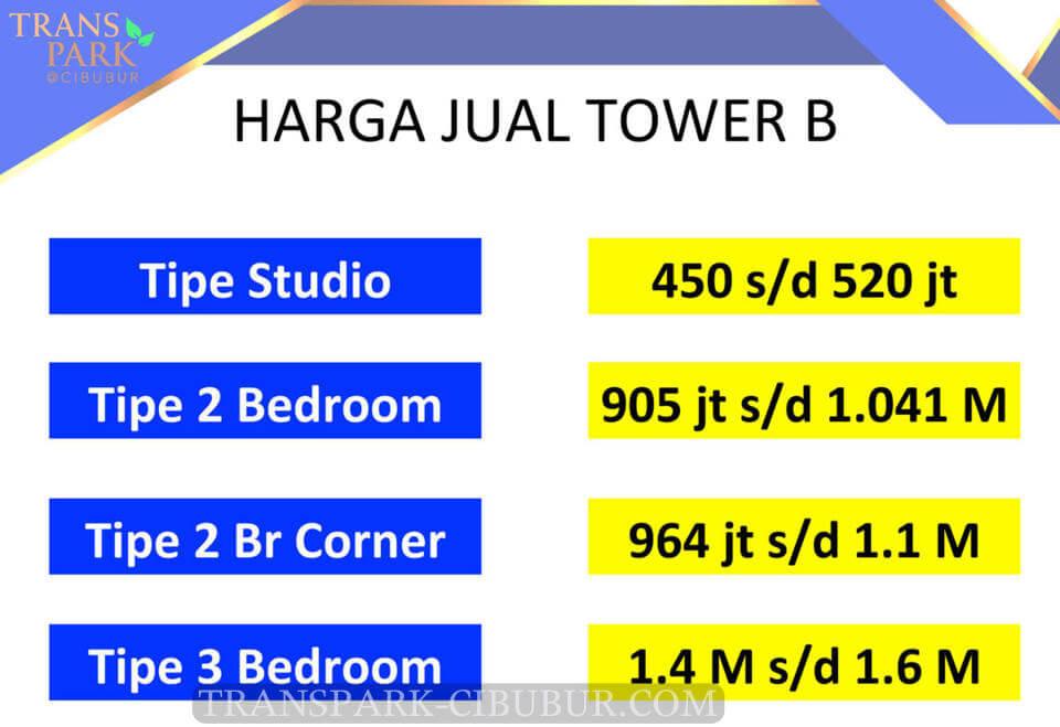 Pricelist Harga Jual Apartemen TransPark Cibubur Tower B