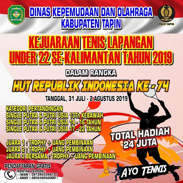 Kejuaraan Tenis  Dinas Kepemudaan Dan Olahraga Kabupaten Tapin