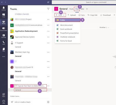 Creating Folders in Teams