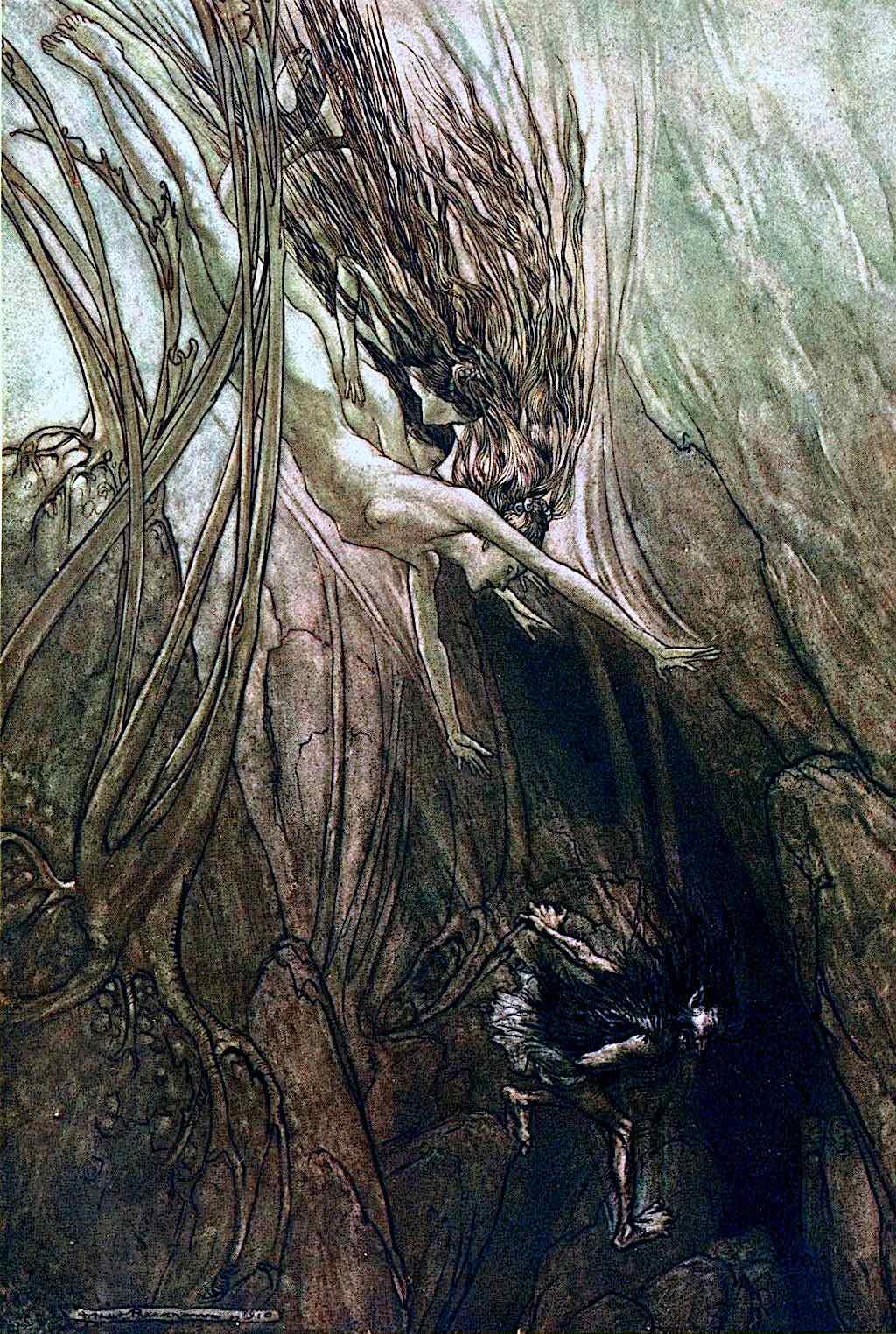 an Arthur Rackham illustration of women underwater
