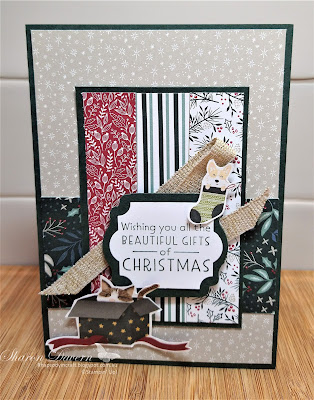 Rhapsody in craft, #rhapsodyincraft,#heartofchristmas2021,Christmas, Christmas cards, Inspired Thoughts, Tidings of Christmas DSP, Label Me Lovely Punch, Everyday Label Punch, Sweet Stocking DSP, Fine Art Ribbon, Stampin' Up!, Annual Catalogue 2021, Evening Evergreen