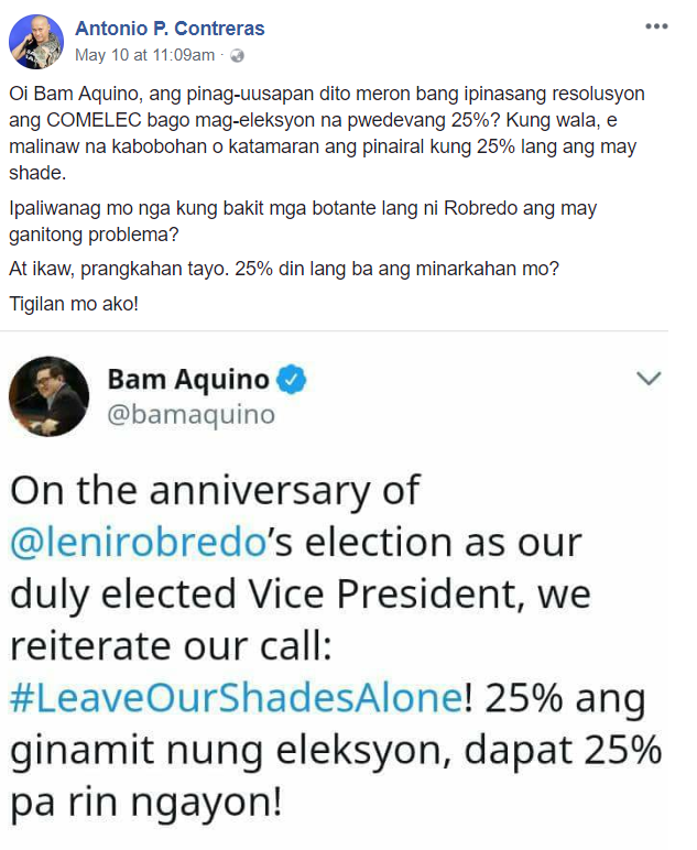 The COMELEC didn't approve of the 25% shading yet Senator Bam Aquino stands for it?
