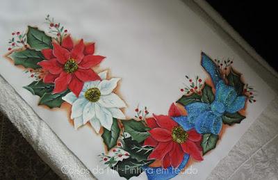 caminho de mesa de oxford com pintura de flores de natal