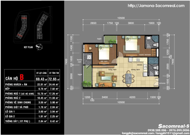 Plan design: B-type Jamona Apartment with 2 bedrooms, 2wc