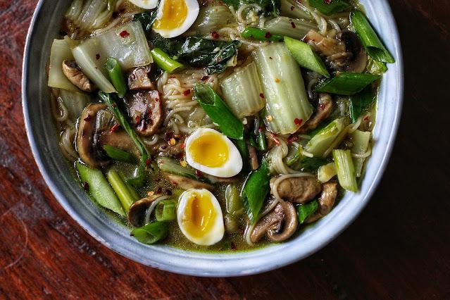 Bok Choy Noodle Soup with Quail Eggs