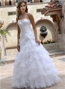 Alt+A-line/Princess Strapless Ruffles Floor-length Sleeveless Wedding Dresses