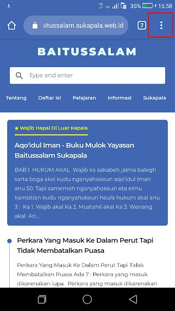 Pada contoh gambar ini, sebagai contoh adalah website sekolah baitussalam sukapala