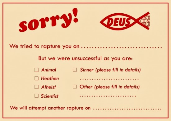 Funny rapture sorry card joke picture