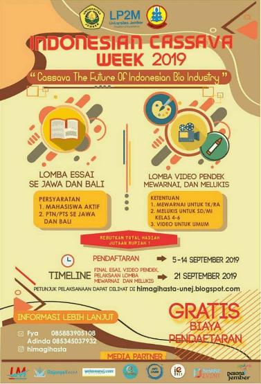 Event Indonesian Cassava Week Unej 2019 Pelajar, Mahasiswa & Umum Gratis