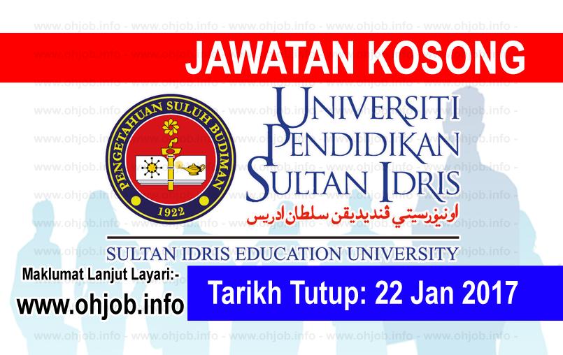 Jawatan Kerja Kosong Universiti Pendidikan Sultan Idris (UPSI) logo www.ohjob.info januari 2017