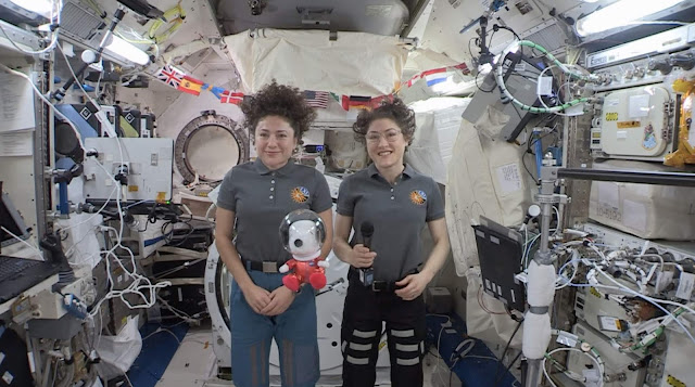 "World-Famous Beagle Snoopy—in 8-Inch Plush Form—Was ""Floating On Air"" with Astronauts Christina Koch and Jessica Meir as They Sent Greetings from the International Space Station to Millions of Macy's Parade Viewers, While a New 49-Foot Tall Astronaut Snoopy Macy's Parade Balloon Soared Over Manhattan"