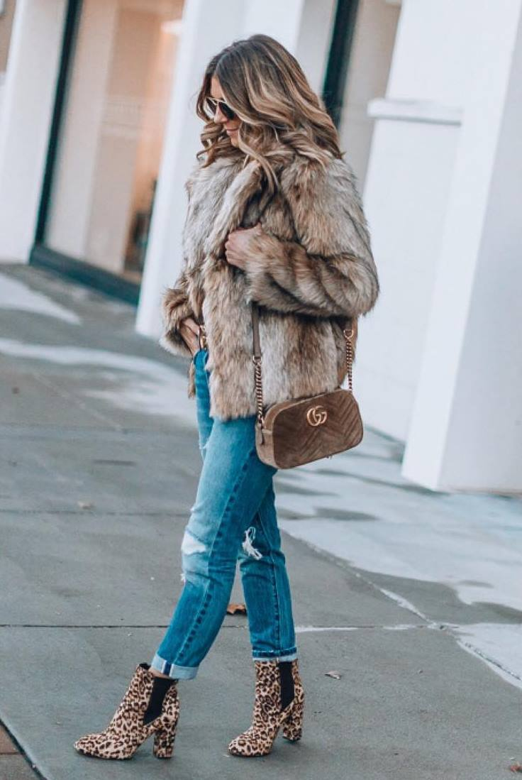 what to wear with a pair of leopard boots : fur jacket + bag + rips