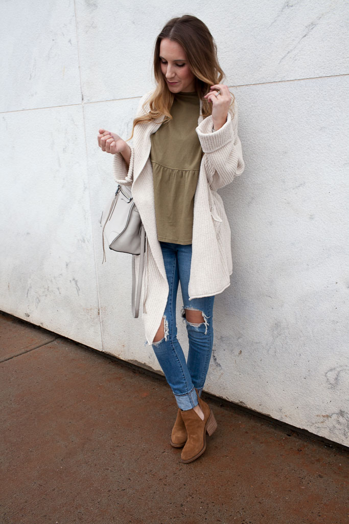 peplum tee and oversized cardigan
