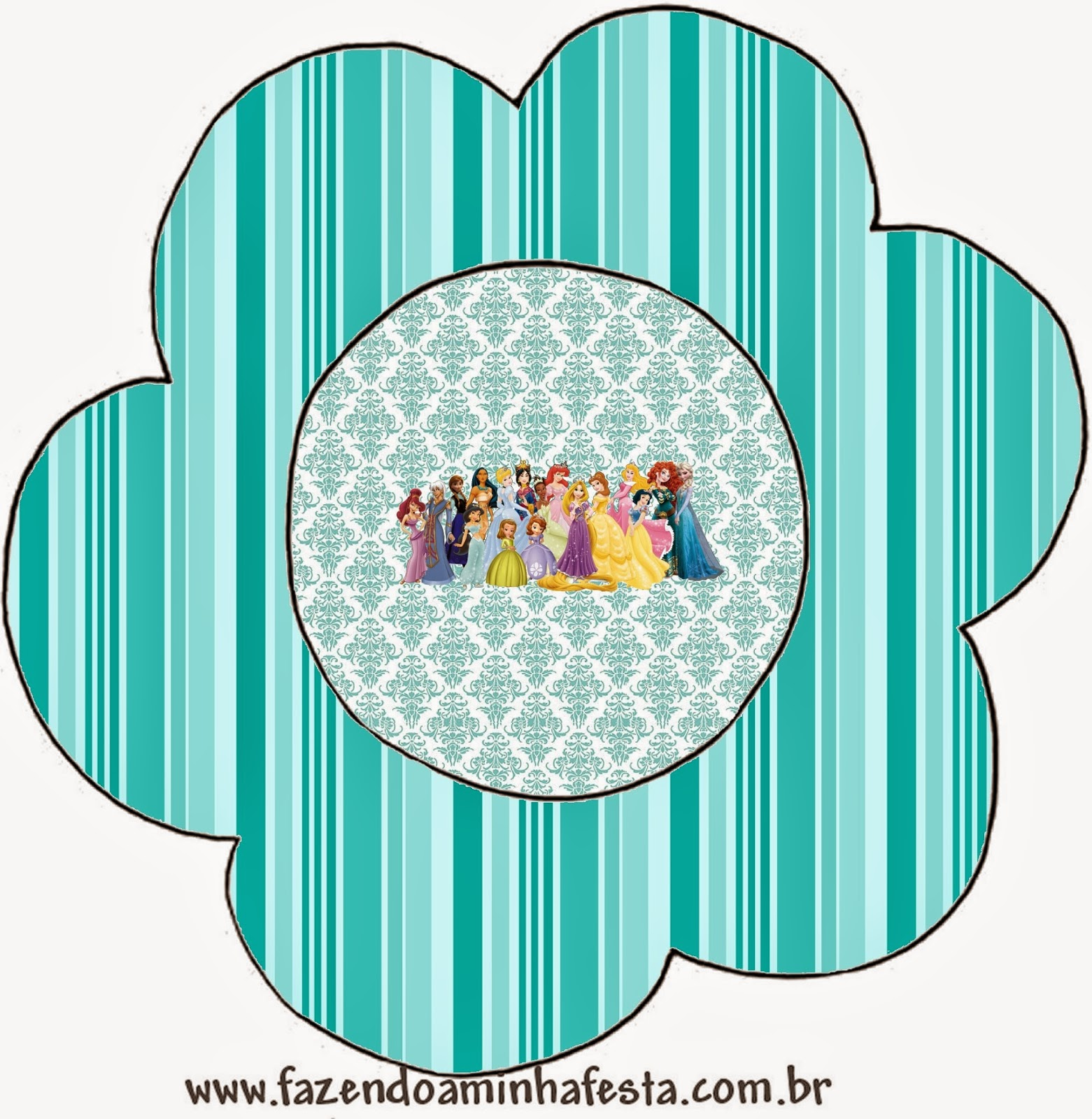 Tarjeta con forma de flor de Princesas Disney.