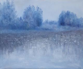 Sininen hetki Sorsakoskella - maalaus